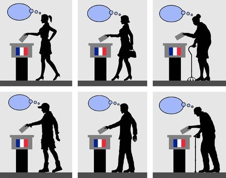 French citizens voting for election in France with thought bubble. All the silhouette objects and backgrounds are in different layers.