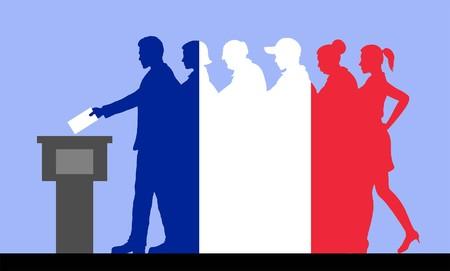 Französische Wähler drängen sich alle Silhouettenobjekte. Vektorgrafik