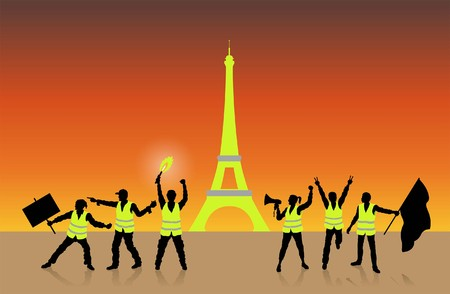 Yellow vests movement in Paris in front of Eiffel Tower. All Shadows and Shadows. 向量圖像