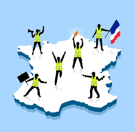 Yellow vests protesters ower France 3D map. All Shadows and Shadows.