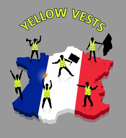French protesters ower France 3D map. All Shadows and Shadows.