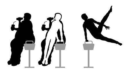 Obese man eating fast food and weight loss with pommel horse gymnastic. All the objects are in different layers.