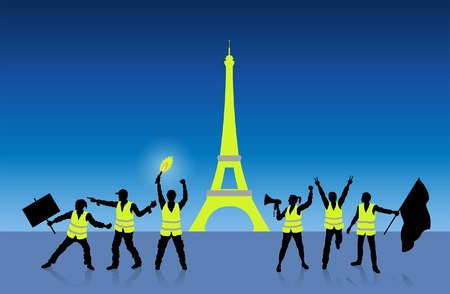 Yellow vests protest in Paris France in front of the Eiffel Tower. All Shadows and Shadows. Stock Vector - 115842718