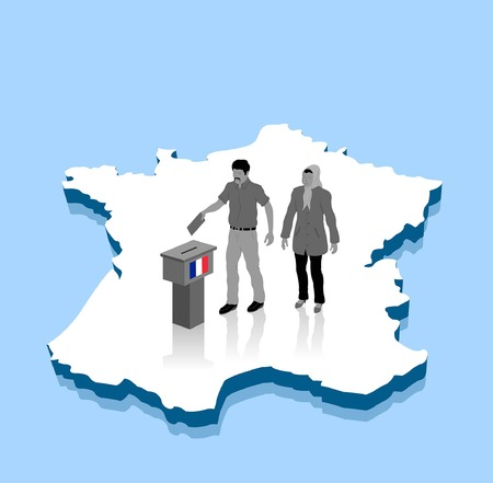 Migrant voters are voting on a France map. All Shadows and Shadows. Иллюстрация