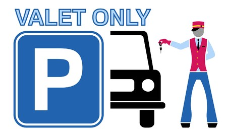 Valet and car silhouette with parking sign. All fonts are in font.