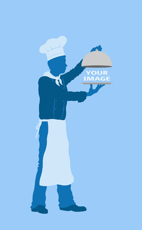 Serving plate with chef silhouette. All fonts are in font.