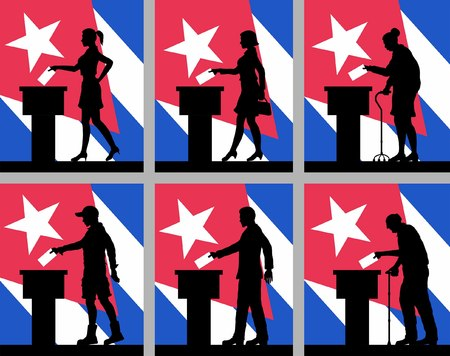 Cuban citizens in Cuba. All the silhouette objects.