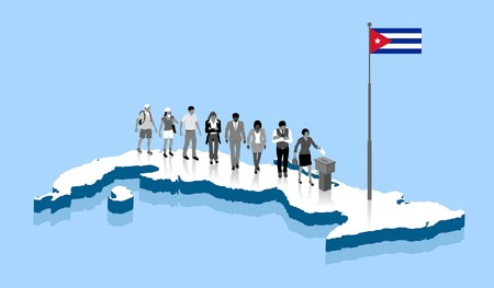 Cuban Citizens are voting on a Cuba map. All the objects.