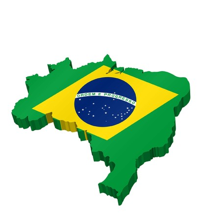 3D Map of Brazil with Brazilian Flag. All the objects, shadows and background are in different layers.