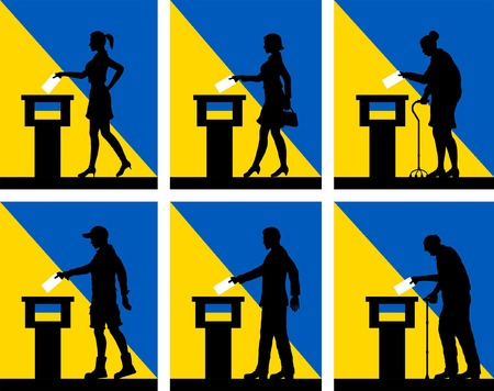 Ukrainian citizens voting for election in Ukraine. All the silhouette objects and backgrounds are in different layers.