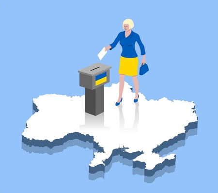 Ukrainian woman are voting in ballot box over a Ukraine map. All the objects, shadows and background are in different layers.