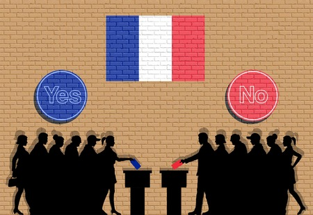 French voters crowd silhouette in France election with yes and no signs graffiti. All the silhouette objects, icons and background are in different layers.