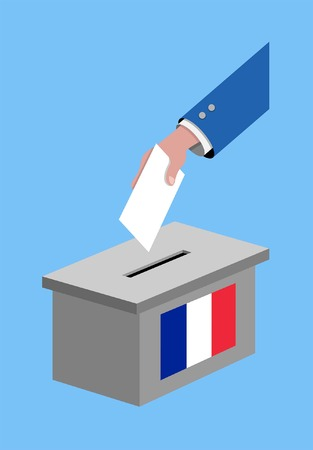 Vote for France election with voting ballot and French flag. All the silhouette objects, and background are in different layers.