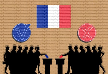 French voters crowd silhouette in election with check marks and France flag graffiti. All the silhouette objects, icons and background are in different layers.