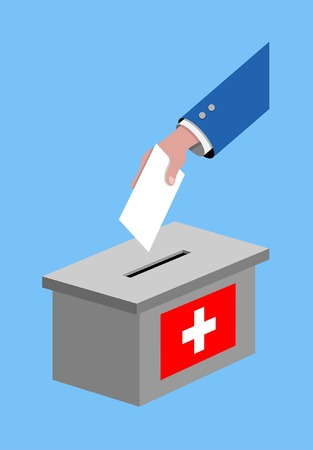 Vote for Switzerland election with voting ballot and Swiss flag. All the silhouette objects, and background are in different layers.