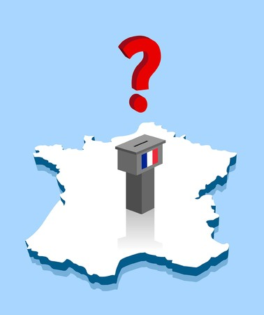 French election results with question mark and voting ballot over France map. All the objects are in different layers and the text types do not need any font. Иллюстрация