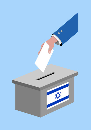 Vote for Israel election with voting box and Israeli flag. All the silhouette objects, and background are in different layers.