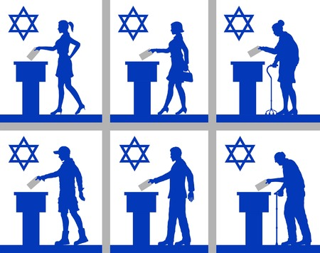 Israeli citizens voting for election in Israel. All the silhouette objects and backgrounds are in different layers.