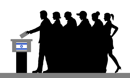 Israeli voters crowd silhouette by voting for election in Israel. All the silhouette objects, and background are in different layers. Illustration