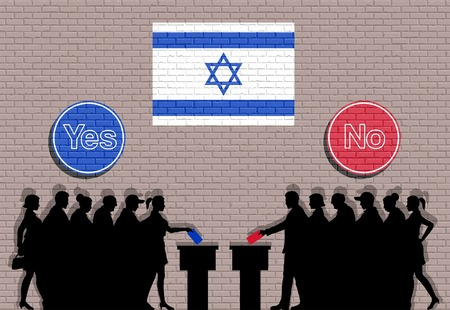 Israeli voters crowd silhouette in Israel election with yes and no signs graffiti. All the silhouette objects, icons and background are in different layers. Иллюстрация