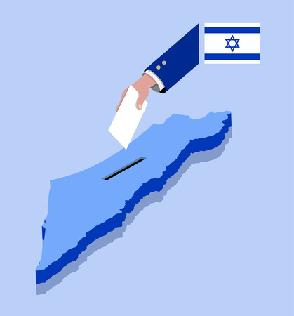 Vote for Israeli election over a Israel map. All the objects, shadows and background are in different layers.