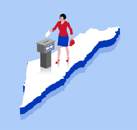 Israeli woman are voting in ballot box over a Israel map. All the objects, shadows and background are in different layers.