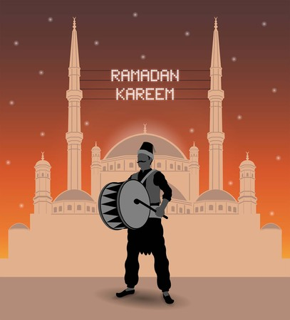 Ramadan Kareem mahya lights over a mosque with ramadan drummer. All the objects are in different layers and the text types do not need any font.
