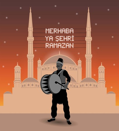 Ramadan drummer and mahya lights with a mosque silhouette (Turkish - welcome ramadan month). All the objects are in different layers and the text types do not need any font. Иллюстрация