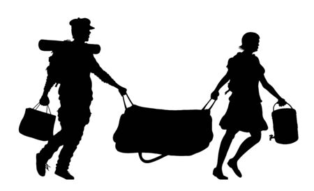 Immigrant couple silhouette with baggages and bags. The silhouette objects and background are in different layers.