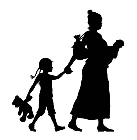 Refugee woman with her baby and little daughter silhouette. The silhouette objects and background are in different layers.