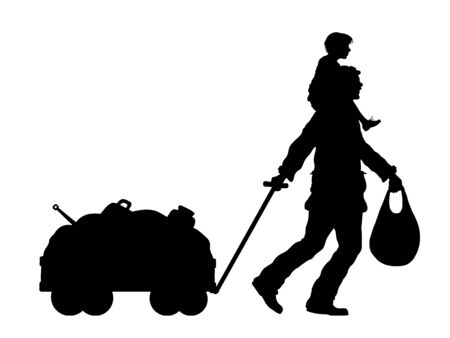 Refugee man and his last silhouette with cart. The silhouette objects and background are in different layers.