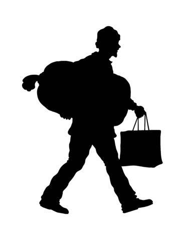 Refugee man silhouette with sack and bag. The silhouette objects and background are in different layers.