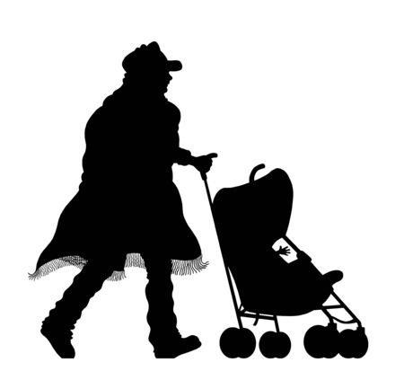Immigrant man silhouette with stroller and baby. The silhouette objects and background are in different layers.