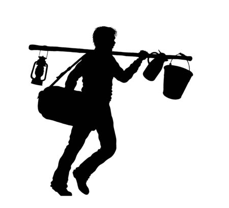 Refugee man silhouette with suitcase and camping tools. The silhouette objects and background are in different layers.