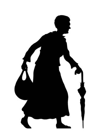 Refugee old woman silhouette with umbrella and bag. The silhouette objects and background are in different layers. Illustration