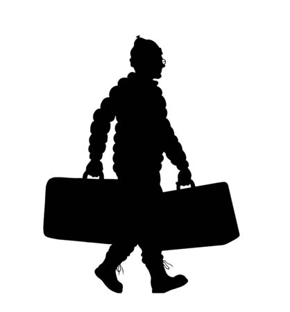 Immigrant man silhouette with valises. The silhouette objects and background are in different layers. Illustration