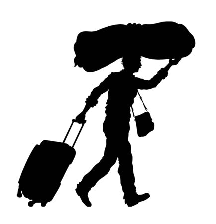 Immigrant man silhouette with baggage and camping mat. The silhouette objects and background are in different layers. Çizim