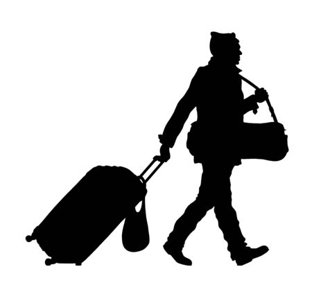 Refugee man silhouette with wheeled bag and valise. The silhouette objects and background are in different layers. Illustration