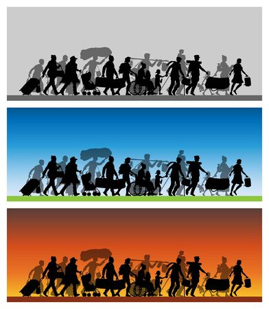 Walking immigrants silhouette with different backgrounds. The silhouette objects and backgrounds are in different layers. Illustration