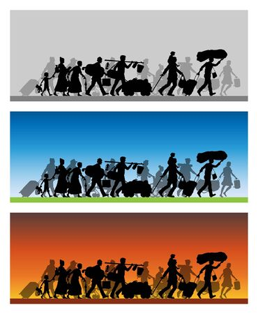Walking refugees silhouette with different backgrounds. The silhouette objects and backgrounds are in different layers.