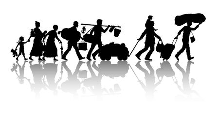 Refugees silhouette. The silhouette objects, shadows and background are in different layers.