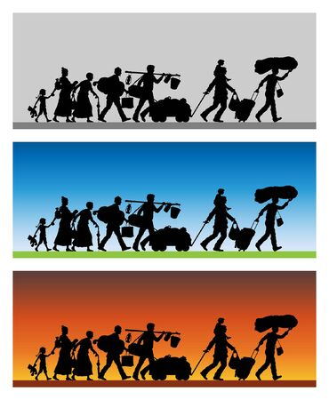 Refugees silhouette with different backgrounds. The silhouette objects and backgrounds are in different layers. Illustration