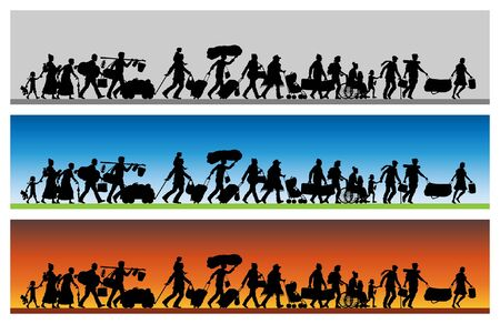 Asylum seekers silhouette with different backgrounds. The silhouette objects and backgrounds are in different layers.