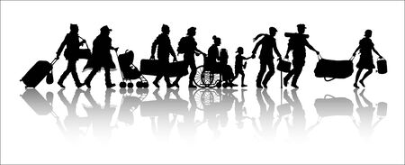 Immigrants silhouette. The silhouette objects, shadows and background are in different layers. Illustration