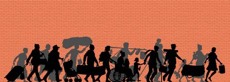 Walking immigrants silhouette in front of brick wall. The silhouette objects and background are in different layers.