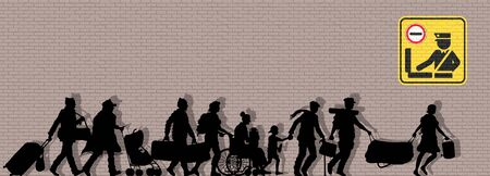 Immigrants silhouette in front of brick wall. The silhouette objects and background are in different layers. Illustration