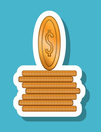 Dollar coins icon that symbolizes finance and investment. All the objects, shadows and background are in different layers. 일러스트