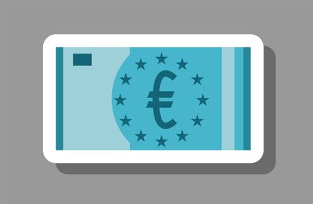 Euro bill icon that symbolizes finance and investment. All the objects, shadows and background are in different layers.