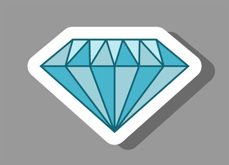 Diamond icon that symbolizes values and investment. All the objects, shadows and background are in different layers. Ilustração