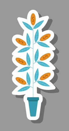 Money tree icon that symbolizes earning and investment. All the objects, shadows and background are in different layers. Ilustracja